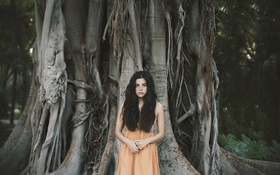 Обои девушка, брюнетка, дерево