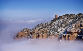 Обои небо, снег, горы, скалы, башня, каньон, Аризона