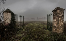 Обои поле, туман, ворота