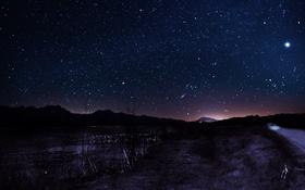 Обои звезды, горы, ночь, коллаж, hight