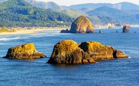 Обои море, пляж, горы, камни, скалы, побережье, США