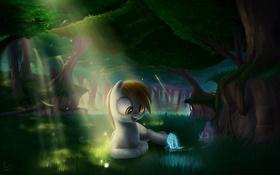 Обои лес, деревья, мультфильм, пони, травка