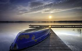 Картинка пейзаж, закат, мост, озеро, лодка