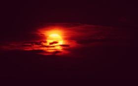 Обои облака, темнота, оранжевое небо, восход