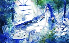 Картинка девушка, цветы, стол, стулья, растения, аниме, окно