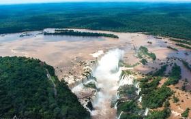 Обои водопад, река, водопады, лес