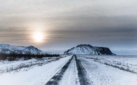 Обои зима, дорога, Исландия