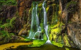 Обои скала, водопад, поток, Австралия