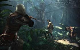 Обои лес, деревья, пират, солдаты, Assassins Creed, ассассин, Эдвард Кенуэй