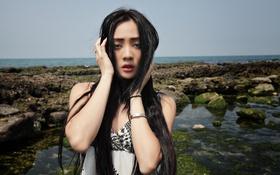 Картинка взгляд, девушка, природа, лицо, азиатка, длинные волосы