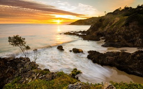 Обои beach, rocks, sunrise, byron bay