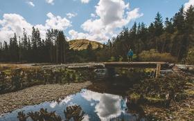 Обои дорога, небо, облака, деревья, горы, мост, отражение