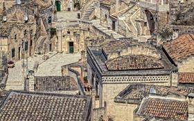 Картинка гора, дома, склон, Италия, Базиликата, Матера