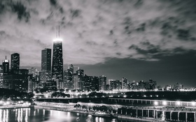 Обои Чикаго, Хмуро, Высота, Небоскребы, Chicago, USA