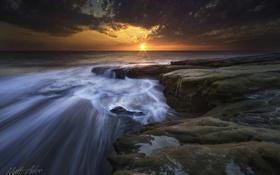 Обои море, природа, скалы, потоки