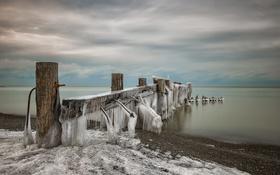 Обои зима, море, мост, лёд