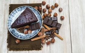 Обои Шоколад, орехи, корица, Шоколадные, Пирожные