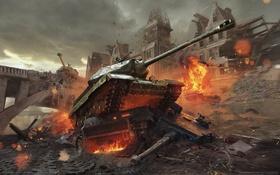 Обои огонь, война, здания, разрушения, танк, game wallpapers, World of Tanks