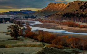 Картинка облака, деревья, горы, река, долина, солнечный свет