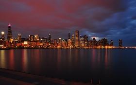 Обои небоскребы, USA, америка, чикаго, Chicago, сша, мегаполис