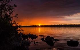 Картинка небо, пейзаж, закат, озеро, камни, берег