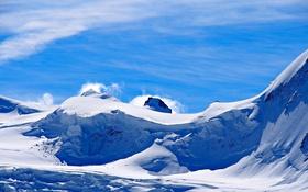 Картинка зима, небо, снег, горы, скалы