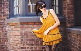 Картинка платье, очки, желтое, Karah Linn