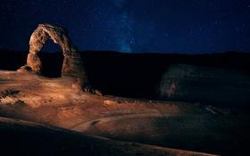 Картинка небо, звезды, ночь, скала, арка, Юта, США