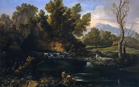 Обои скала, картина, вода, Пейзаж с Водопадом, деревья, Коррадо Джаквинто, люди