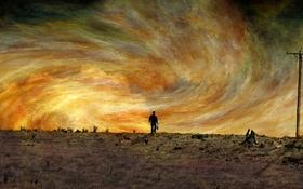 Обои человек, небо, поле
