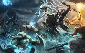 Обои Crusader, Barbarian, Malthael, diablo 3, битва, нежить, Варвар