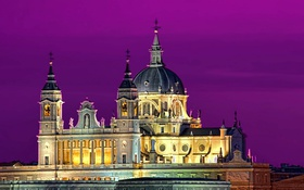 Обои небо, ночь, огни, собор, Испания, купол
