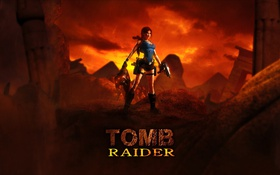 Обои закат, голова, Tomb Raider, руины, Lara Croft