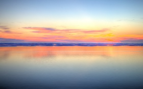 Картинка море, зеркало, отражение, сумерки, небо, горизонт, пляж