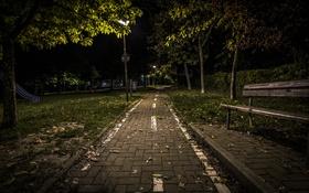 Обои скамья, ночь, город