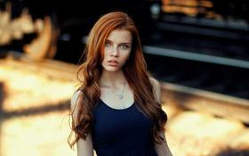 Картинка Девушка, Взгляд, Осень, Губы, Красивая, Милая, Рыжеволосая