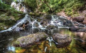 Обои деревья, камни, водопад, мох, hdr, США, Michigan