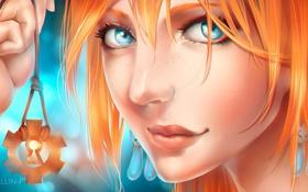 Картинка девушка, лицо, арт, кулон, рыжая, kristallin-f