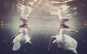 Картинка девушка, шатенка, под водой, underwater