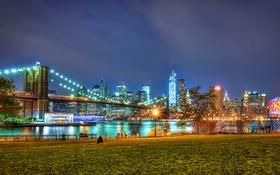 Обои Бруклинский мост парк, Бруклинский мост, Эмпайр-стейт-билдинг, OWTC, Нью-Йорк, люди, One World Trade Center