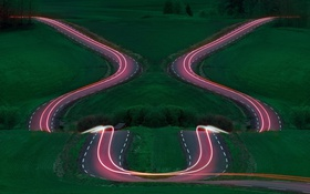 Картинка ночь, дорога, огни