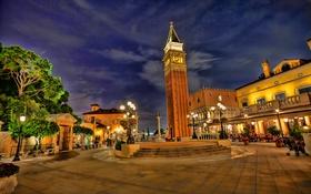Обои свет, ночь, парк, башня, фонарь, сша, дворец