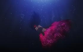 Картинка девушка, аниме, арт, бант, под водой, mahou shoujo madoka magica, akemi homura