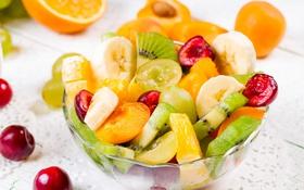 Обои апельсин, киви, виноград, абрикос, черешня, салат