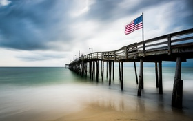 Обои sea, landscape, flag, North Carolina, long exposure, Nags Head Fishing Pier
