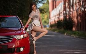Картинка дорога, машина, ножки, Honda, платьице, Audrey