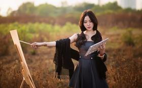 Картинка лето, девушка, природа, художник, азиатка, кисть, шаль