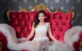 Обои волосы, платье, лицо, азиатка, взгляд, кресло