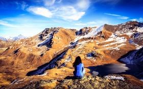 Картинка девушка, снег, горы