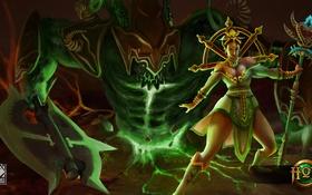 Обои девушка, монстр, Heroes of Newerth, Jade Empress, Hellbringer